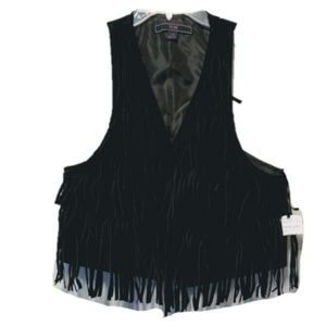 NWT Black Suede Fringe Boho Festival Vest Large